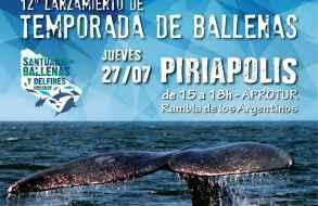 """El jueves 27 se realiza lanzamiento de la """"12ª Temporada de Ballenas"""" en Piriápolis"""